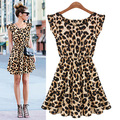 2016 Women s Casual Dresses Sweater Elegant Classical Vintage Sleeveless Pinup Leopard Dress Loose Casual summer
