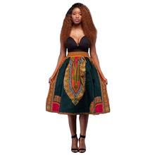 2016 Summer Traditional African Dashiki Skirts Jupe Femme Vintage Green Women Plus Size African High Waist Midi Skirt Clothes