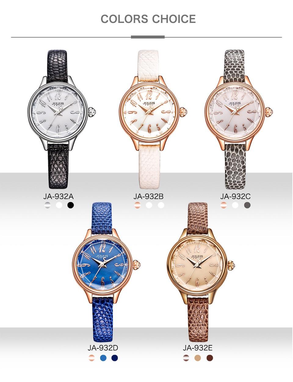 JULIUS 2017 Winter New Crocodile Genuine Leather Strap Rose Gold Watches Women Lady Fashion Dress Wrist Watch Hours Clock JA-932
