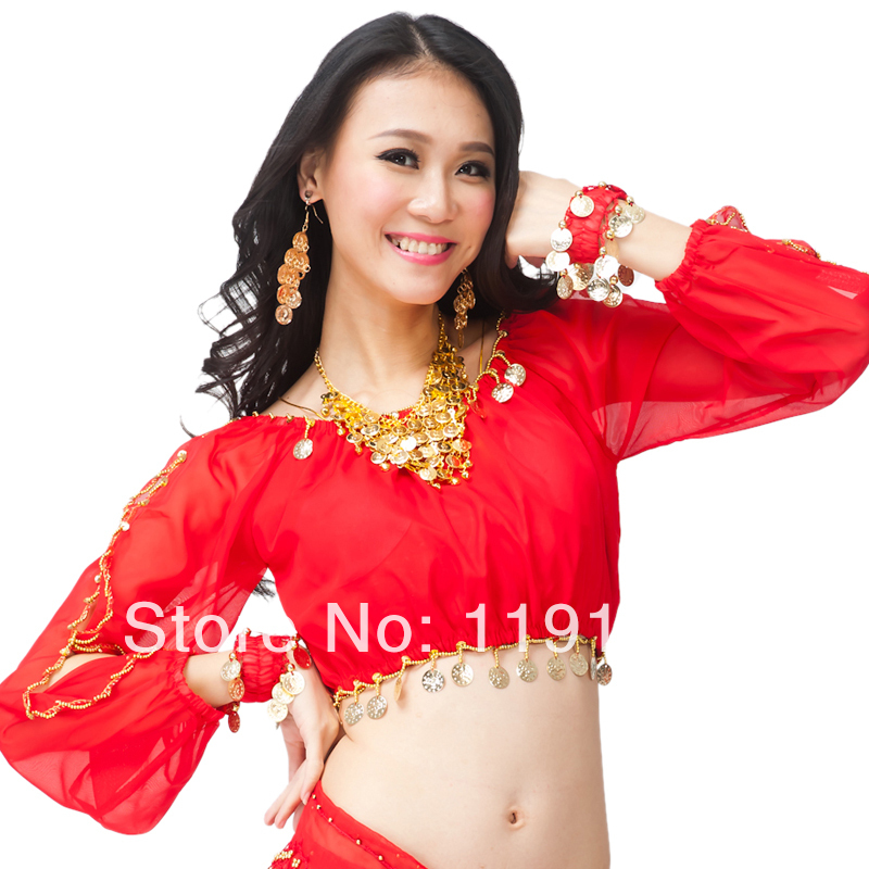 Belly dance top dance clothes female belly dance training top gold coin long-sleeve lantern sleeveОдежда и ак�е��уары<br><br><br>Aliexpress