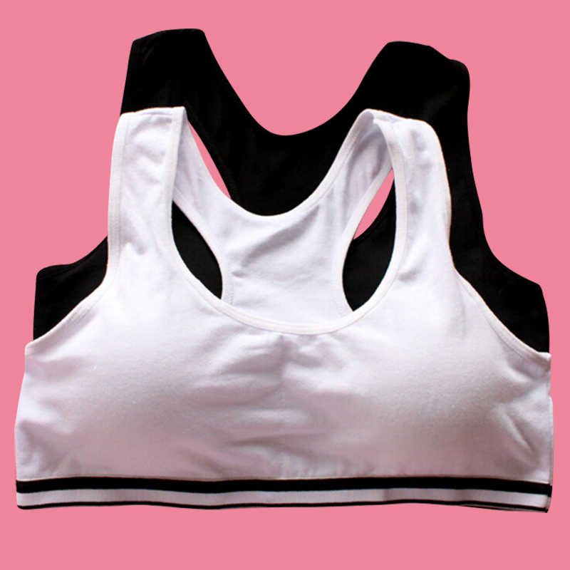 White Black Young Girls Bra 95% Cotton Sports Solid Breathable Student Underwear Cozy Training Bra For Kids #414(China (Mainland))
