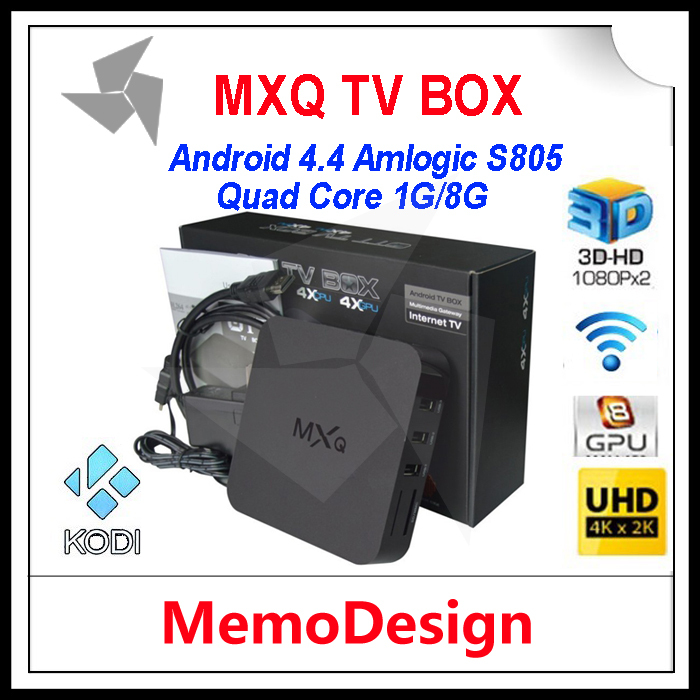 MXQ Android 4.4 TV BOX Quad Core Amlogic S805 KODI XBMC Full Load 1GB+8GB Cortex A5 1.5GHZ Mali-450 WiFi Smart TV Media Player(China (Mainland))