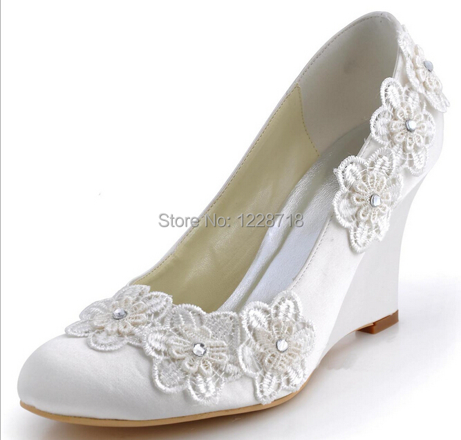 Aliexpress Buy New Lace Flower Wedges Heel Wedding Shoes Bridal Shoes Evening Party Shoes