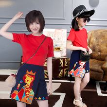 Women Cotton Dresses for Mum Girl Family Matching Clothes Summer Skirts Toddler Girl Clothings Kid Dresses Family Sets White Red