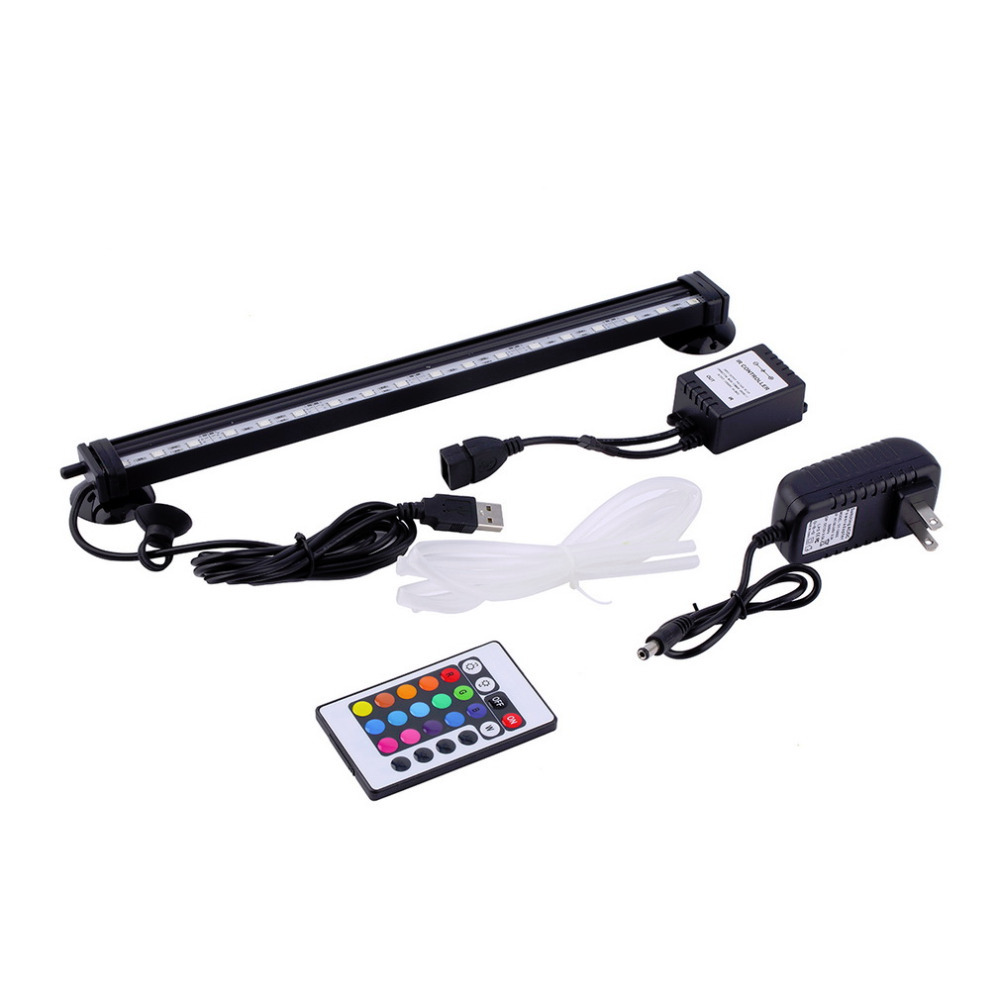 18 LED Remote RGB Colorful Air Bubble LED Aquarium Light Fish Tank Coral Lamp Tube Hot underwater light for fish Brand New(China (Mainland))