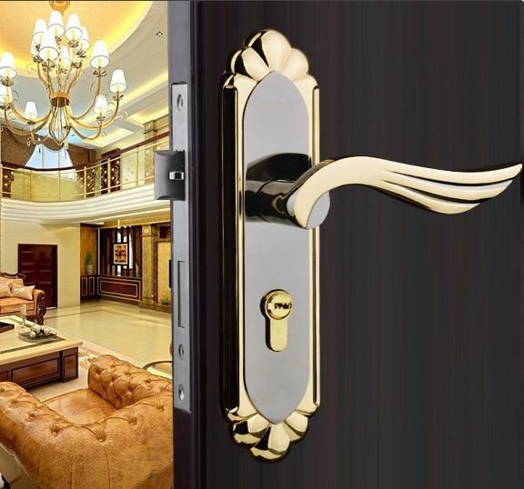 2014 New Stainless Steel Home Hotel Door Lock Handles For Interior Doors With Keys Room Handle