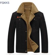 FGKKS 2018 hombres chaqueta abrigos invierno militar bombardero chaquetas Jaqueta Masculina moda Denim chaqueta para hombre(China)