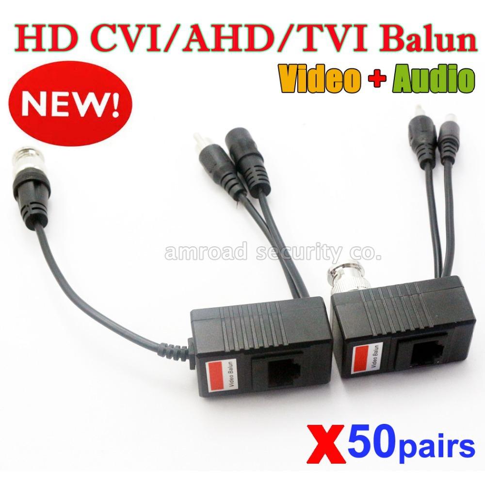 50Pairs CCTV Camera Passive Audio Video Balun Transceiver BNC UTP RJ45 Video Balun Audio Video Power over CAT5 Cable Transmitter(China (Mainland))