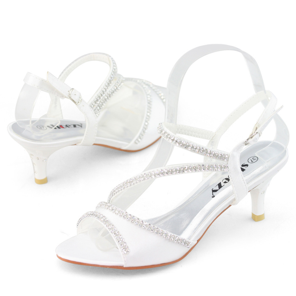 SHOEZY Brand White Kitten Heels Small Thin Low Heel Wedding Shoes Woman Bridal Dress Shoes Satin