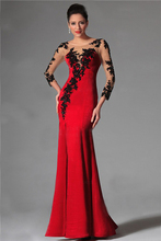 Fashion Red Evening Dresses 2016 Elegant with Long Sleeve Scoop Neck Applique Beaded By Hand Prom Party Dresses Vestido de Festa(China (Mainland))