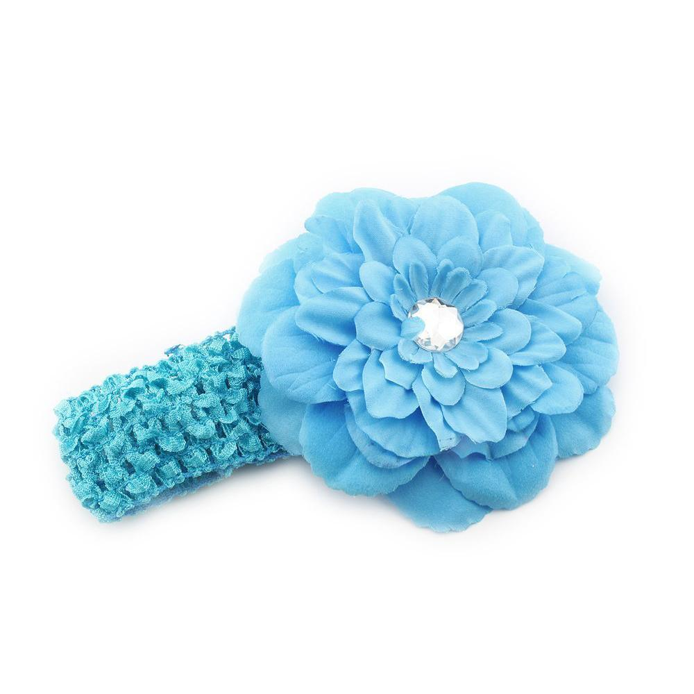 New Fashion 1pcs Baby Girls Crochet Headband with Blue Peony Flower Hair Clip(China (Mainland))