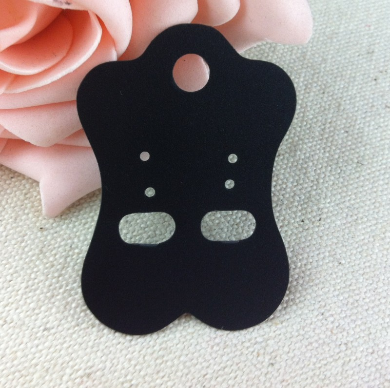 The Sole Custom Earring Display Cards 200pcs/lot NO Logo Black PVC Pretty shape Earring Display Tags Cards Free Shipping(China (Mainland))