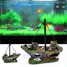 Aquarium Ornament Wreck Sailing Boat Sunk Ship Destroyer Fish Tank Cave Decor Free Shipping(China (Mainland))
