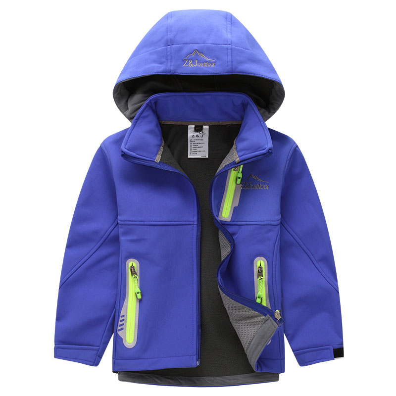 Children Outdoor Softshell Jacket Winter Fleece Waterproof Windproof Hooded Skiing Camping & Hiking Coat Outerwear(China (Mainland))