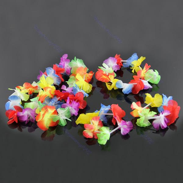 4pcs Hawaiian Flower Necklace Lei Headband Anklet Fancy Dress Garland Beach Hula(China (Mainland))