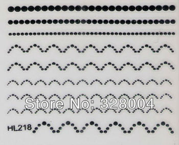 Finger applique nail art watermark stickers water transfer printing applique black decal HL series HL218-HL08