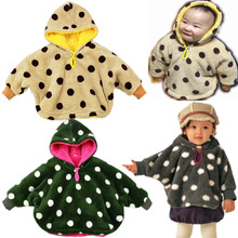 Buy Winter infant cloak winter cloak polka dot coral fleece double faced baby outerwear for $25.99 in AliExpress store