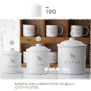 Zakka reminisced santa horse storage tank coffee cans sauce pot glass cup 3 pcs set free air mail