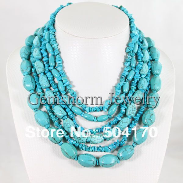 "18-26"" Bridesmaid Gifts,Bead Necklace,Beaded Jewelry,Turquoise Necklace Multi Strand Necklace With Turquoise(China (Mainland))"