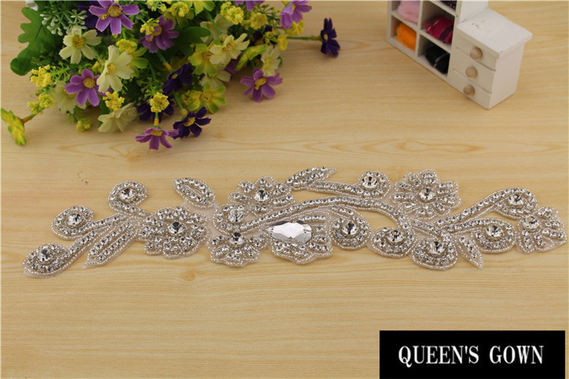Bridal Sash Motif Silver Crystal Rhinestone Applique(China (Mainland))