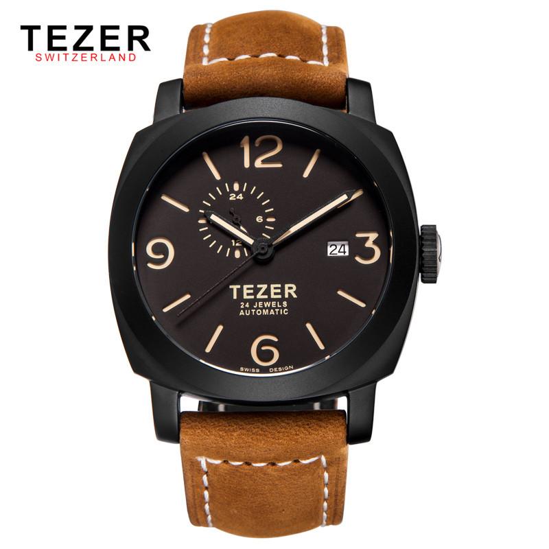 Люксовый Бренд TEZER 2016 Мода Часы Мужчины Наручные Часы Автоматические Механические Часы Ремень Из Натуральной Кожи Мужской Часы Box