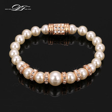 DFH055 Imitation Simulated Pearl 18K Rose Gold Plated  Charms Bracelets Fashion Jewelry For Women Austrian Crystal(China (Mainland))