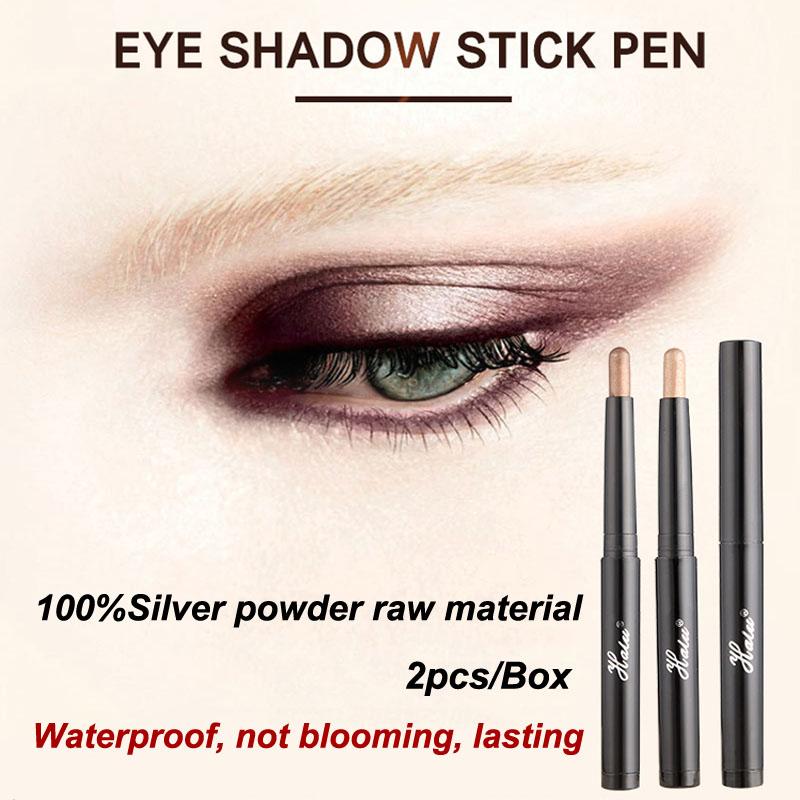 HaLu New 2016 Brand Pirmer Eyeshadow Stick Music Flowers double Colors Golden Luminous Eye Shadow Cosmetic Eyes Cream Pen(China (Mainland))