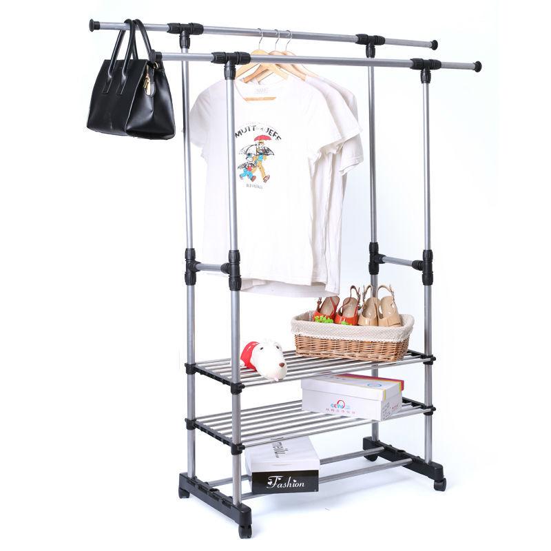 Здесь можно купить  2 rods longer scalable standing coat rack cloth shoe rack shelf coat hanger home furniture  Мебель
