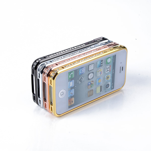 Luxury Bling Diamond Aluminum Metal Blade Bumper Frame Case For iPhone 4 4S New Free shipping & Drop shipping(China (Mainland))