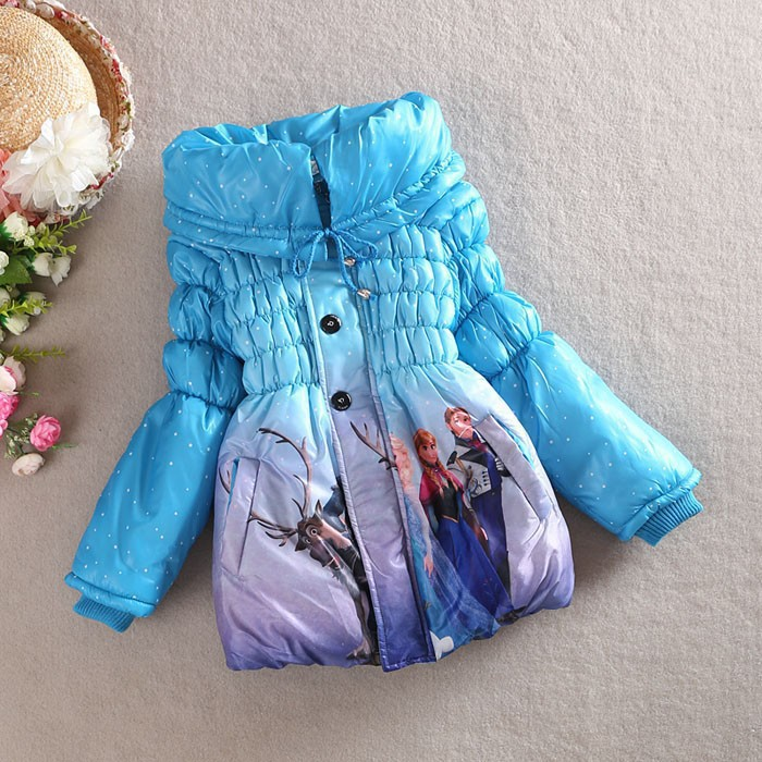 girls frozen coat baby winter long sleeve warm jacket children cotton-padded clothes kids blue outwear - Angel's chest store