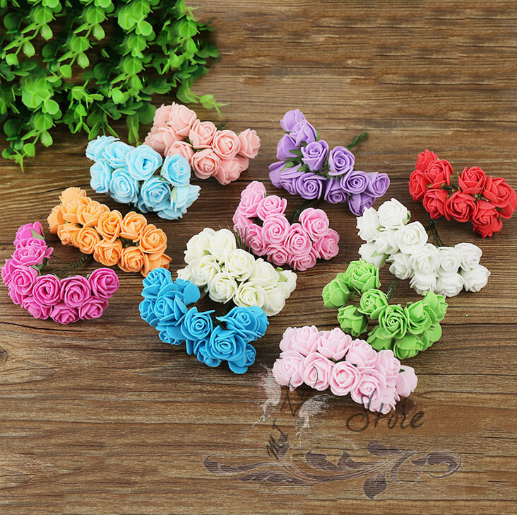 FREE SHIPPING 12pcs Multi Color Scrapbooking artificial rose flowers Head Silk Foam Rose Petals Table Decorations Party Supplies(China (Mainland))