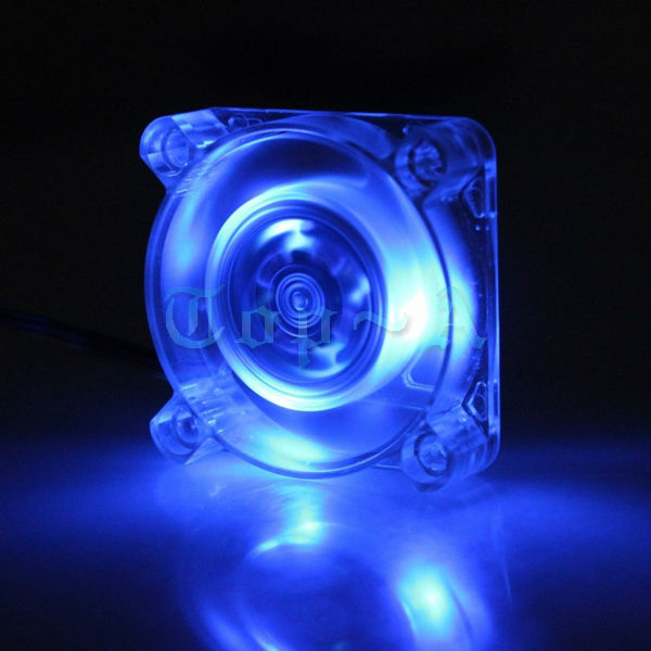 5 pcs/lot 40mm 12V DC Brushless 3 LED Blue PC CPU Computer Case Cooling Fan 3 Pin 40x40x10mm(China (Mainland))