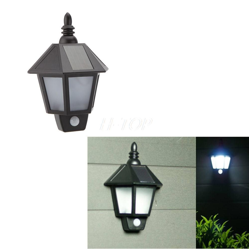 Outside Wall Lights Solar Powered : Solar Powered LED Infrared Motion Sensor Wall Light Outdoor Garden E7824-in Outdoor Wall Lamps ...