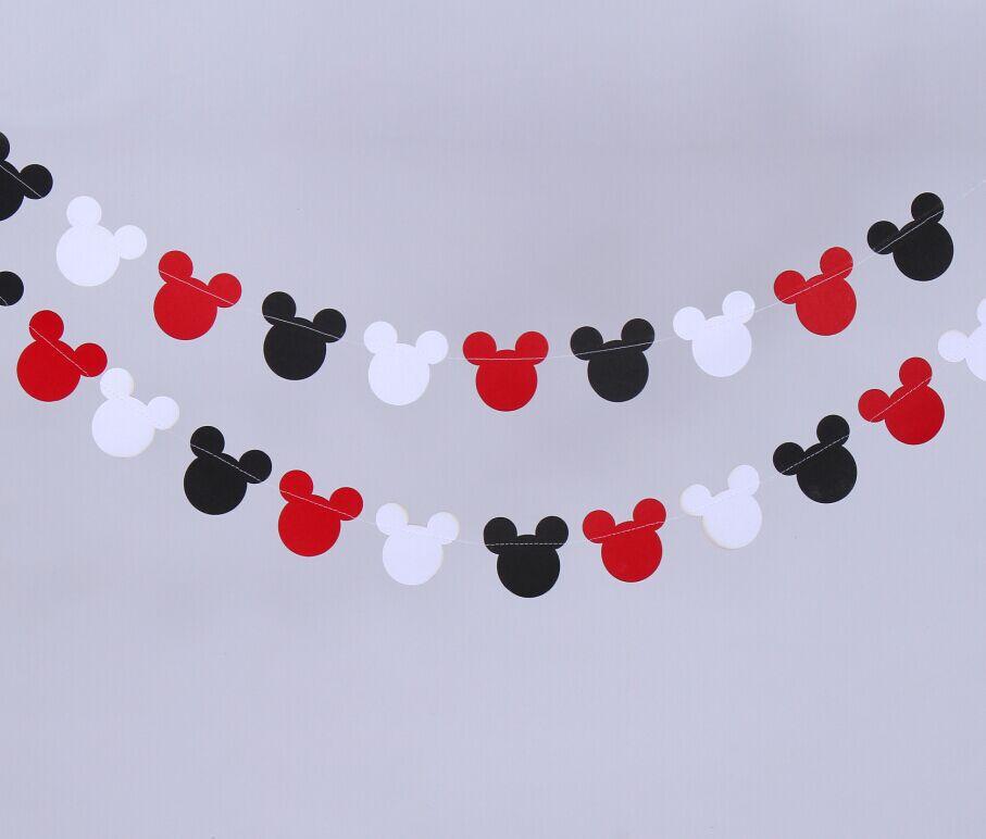 Mickey Mouse Decoracion Navidad ~ 12 Pies Negro Rojo Mickey Mouse inspir? Guirnalda de Papel de