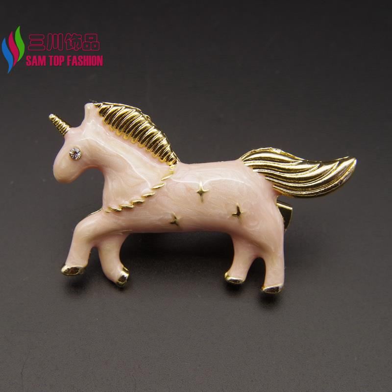 2016 New Arrival Unicorn hair Clips Fashion Vintage Enamel Animal Hair Clip for Women Jewelry Aaccessories pinzas de pelo(China (Mainland))