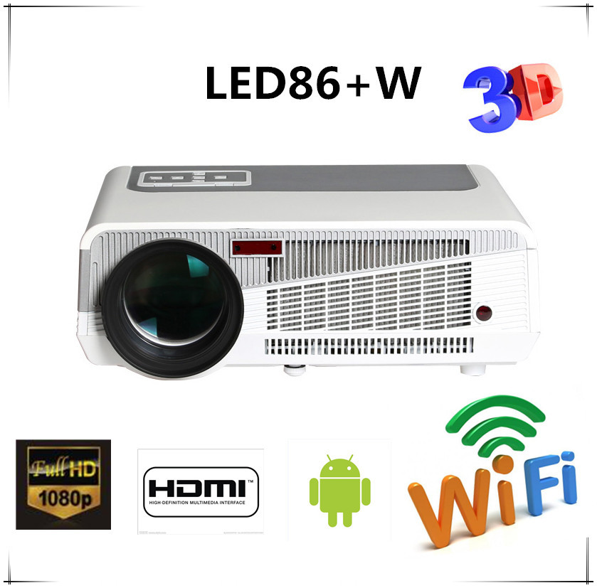 Free gift Full HD New Android Smart Projector Proyector LCD 3D WIFI Home Theater TV Beamer LED Projektor 1080p HDMI/USB/VGA/AV(China (Mainland))