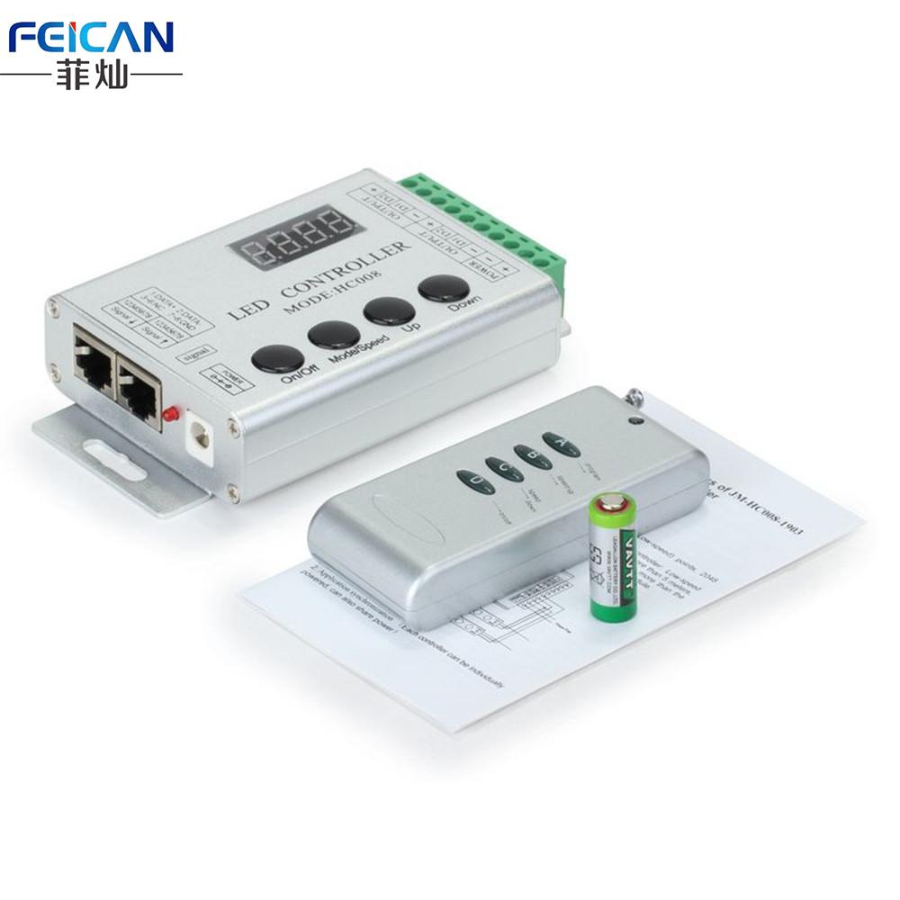 DC12V 4Keys RF Remote RGB LED Controller HC008 Magic Dream Color RF LED Controller WS2811 WS2801 etc For LED Strip Light(China (Mainland))