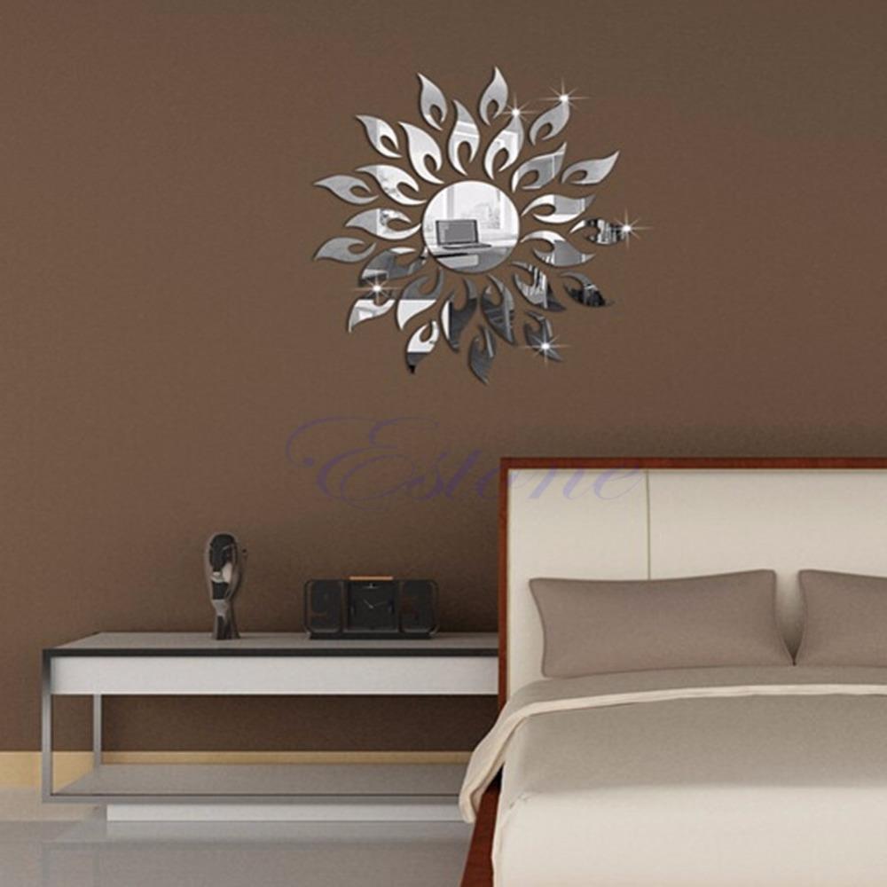 3d mirror wall decal decor art sticker home sunshine fire for Mirror stickers
