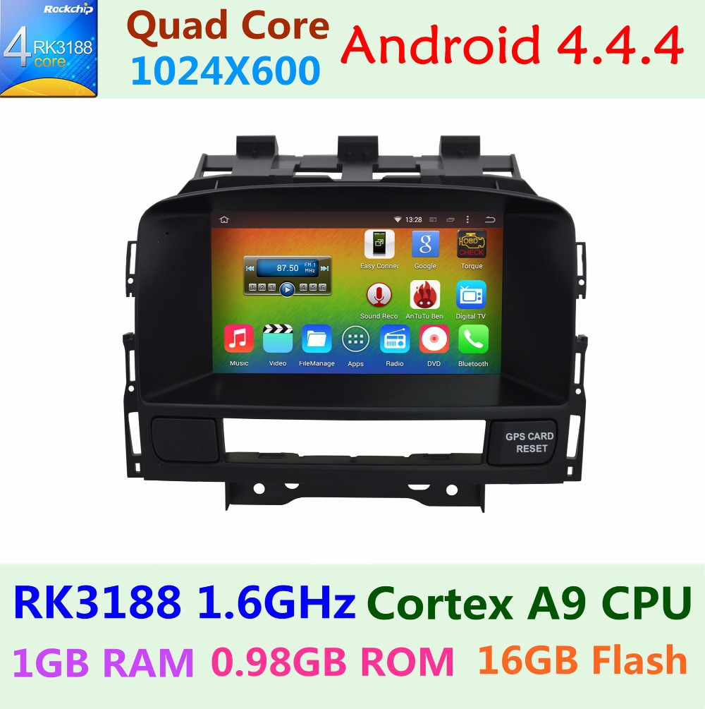 1024*600 4 Quad Core 1.6G Android 4.4.4 for Vauxhall Opel Astra J Buick Verano 2010 2011 2012 2013 2014 Car DVD GPS Radio Stereo(China (Mainland))