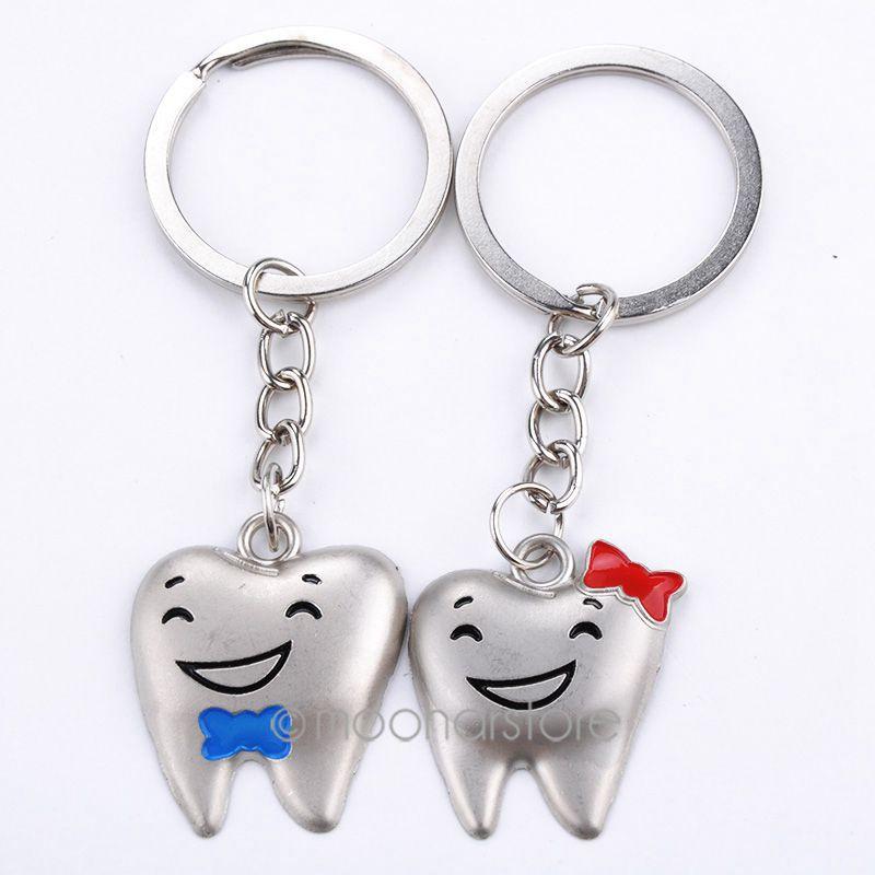 tooth shaped love double key chain keychain key ring lover gift, key ring lover gift free shipping MPJ501#M1(China (Mainland))