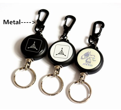 High Strength Steel Wire Retractable Pull Keyring Lanyard Name Tag Card Holder Recoil Cord Metal Badge Reel(China (Mainland))