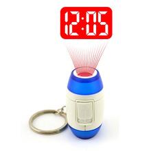 2016 Mini LED Projector Clock Luminous Watches & Clocks Plastic Flashlight Clock Electronic Movement Projection Clock Keychain(China (Mainland))