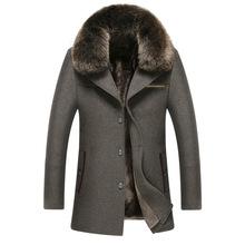 Men Luxury Fur Collar Woolen Coats Fashion Slim Wool Overcoat England Style Winter Long Design Cashmere Peacoat casaco masculino(China (Mainland))