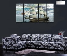 Original Home Decor HD Print Landscape art painting on canvas(No frame) White sailing yacht 5PC-30(China (Mainland))
