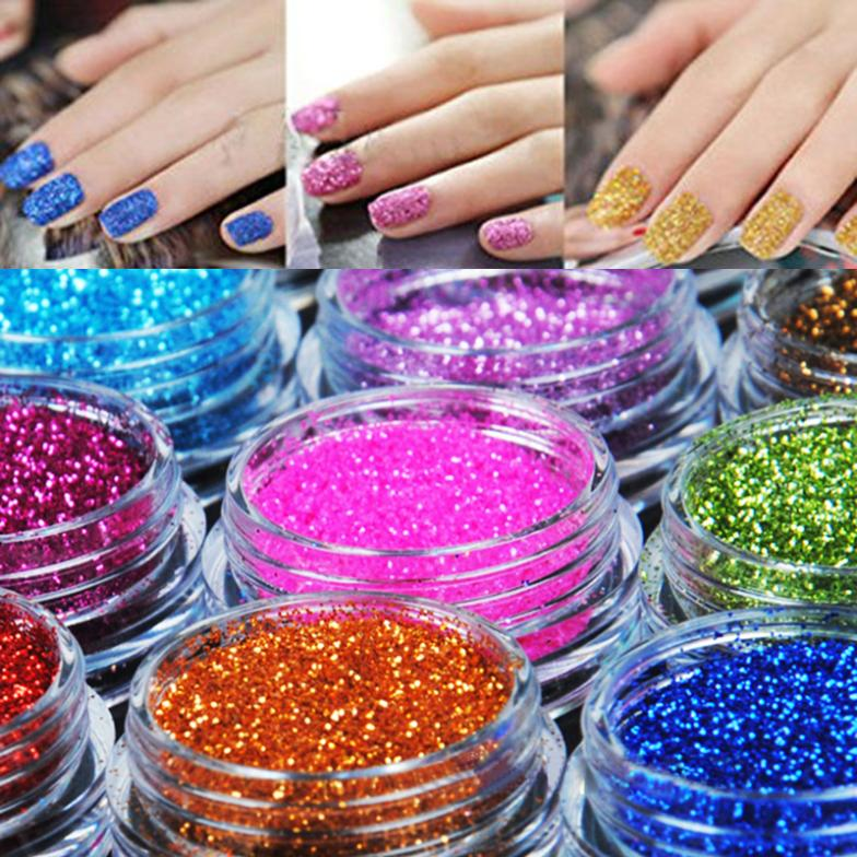 Free shipping 1 Set 18 Colors Nail Art Glitter Powder Dust Decoration kit For Acrylic Tips UV Gel DIY # M01200(China (Mainland))