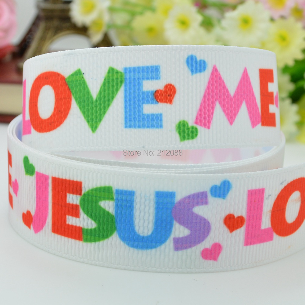 """7/8"""" 22mm JESUS LOVES YOU&ME EASTER VBS BIBLE SCHOOL Printed Grosgrain Ribbon for Making Hairbow Scrapbooking Decorating Dress(China (Mainland))"""
