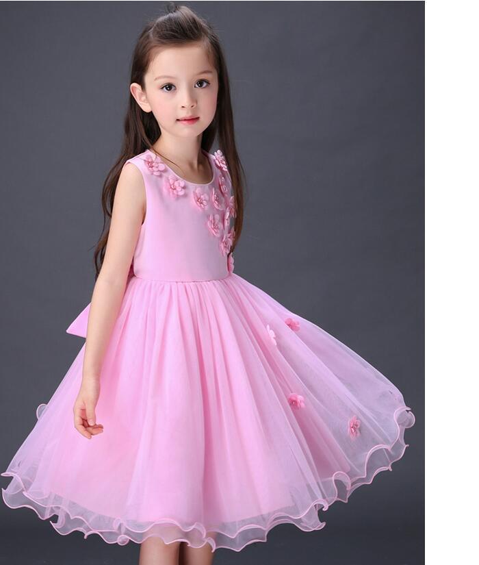 Sweet cute girl dress formal occasions beautiful little round collar dress flower children's wear fashion pageant dress(China (Mainland))