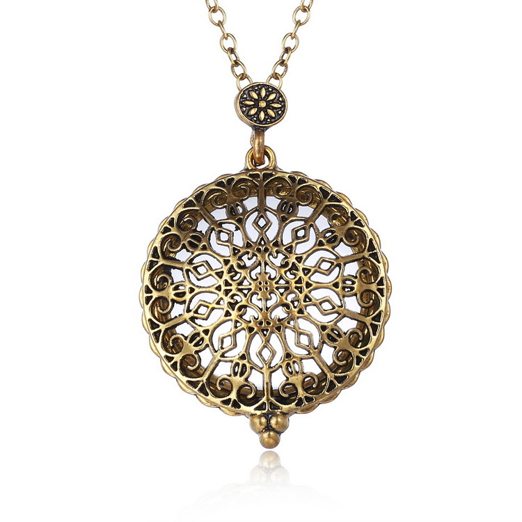Flower Reading Glass Crystals Necklace Magnifying Glass Pendant Fashion Bronze Necklace(China (Mainland))