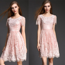 2015 Fashion Spring Dress New Women's Clothing  Summer DRESS  lace Water-soluble Flower O-Neck Plus Size L XL Dresses