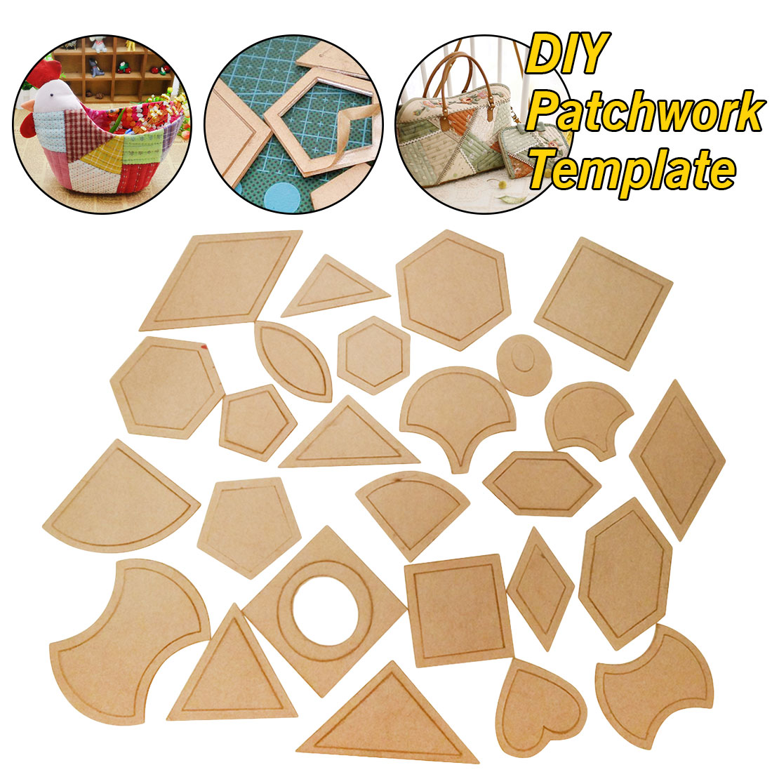 27Pcs//Set Patchwork Templates with Clear Acrylic Seam Sample Graphic Template for Sewing Handicrafts DIY Patchwork Mixed Styling Handmade Tool Accessories